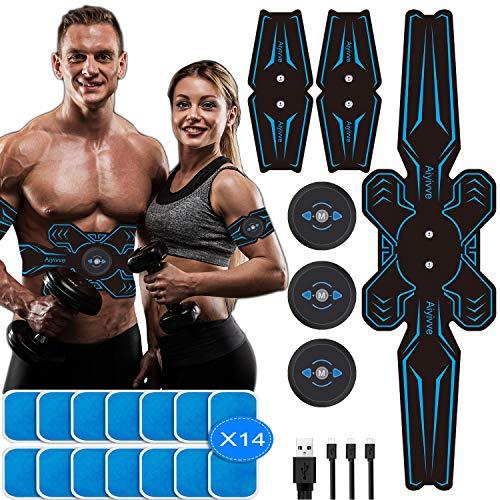 Aiyivve Elettrostimolatore per Addominali Elettrostimolatore Muscolare con USB Ricaricabile Stimolatore Muscolare per Braccio/Gambe/Waist/Glutei, 6 modalità e 9 Livelli di Intensità(14PCS Gel Pezzi)