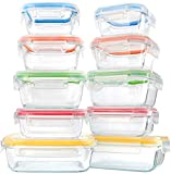 10 Pieces Glass Food Storage Container with Lids, Airtight Glass Lunch Containers,No Leaking Glass Meal Prep Container,Microwave, Oven, Freezer and Dishwasher