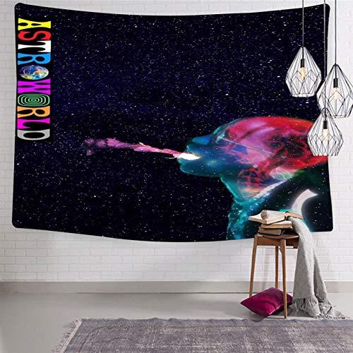 168 ASTROWORLD Tr-av-is Sc-ott 6 - Tapiz de pared divertido para el hogar, tapiz suave y ligero para dormitorio de 180 x 22,5 cm
