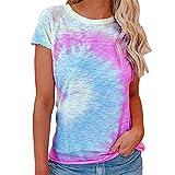 PRJN Camiseta con Efecto Tie-Dye para Mujer Tops de Manga Corta Camiseta con Cuello Redondo Dobladillo Largo Tops Casuales de Verano Blusa básica Camiseta de Verano para Mujer Camiseta de Manga