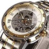 Relojes, Relojes para Hombres Reloj mecánico de Estilo clásico Acero Inoxidable Esqueleto Diseño intemporal Punky Steam mecánico con Pulsera de eslabones (Oro)