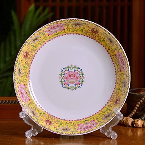 XKMY Plato hondo Jingdezhen de cerámica de 20,32 cm, plato de cocina china de hueso de la familia china plato de sopa profunda redonda plato de vajilla antigua (color: amarillo)