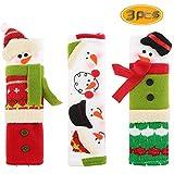 BeautyMood Snowman Refrigerator Door Handle Covers Set, Adorable Snowman Kitchen Appliance Handle Covers Fridge Door Covers Christmas Decoration - Set of 3 Design Protective Kitchen Appliance Covers.