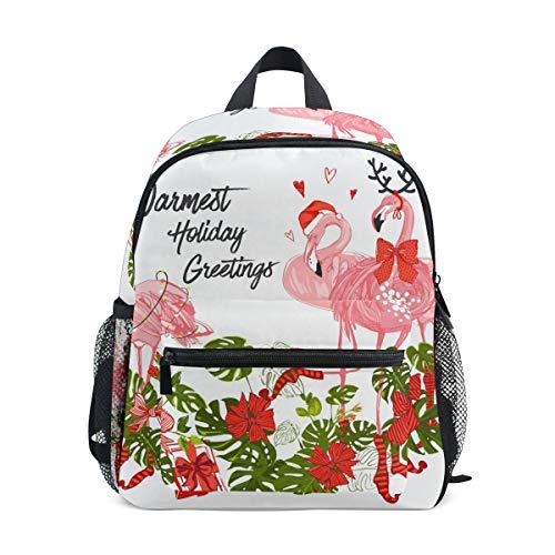 ALINLO Kinder Schultasche Flamingo mit Weihnachtsmütze Geschenke Vorschule Rucksack Kinder Reisen Tagesrucksack für Jungen Mädchen