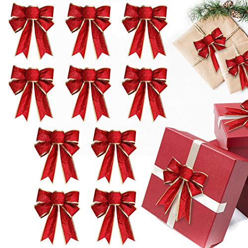 BTGGG 10 Pieces Bows for Presents Christmas Bows Xmas Tree Ornaments Glitter Bowknot Ribbon Christmas Decorations for Presents Box, Party, 25 * 20CM (Red)