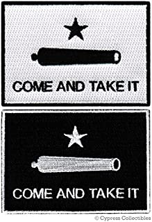 LOT 2 COME AND TAKE IT FLAG PATCH TEXAS REVOLUTION IRON-ON EMBROIDERED GONZALES