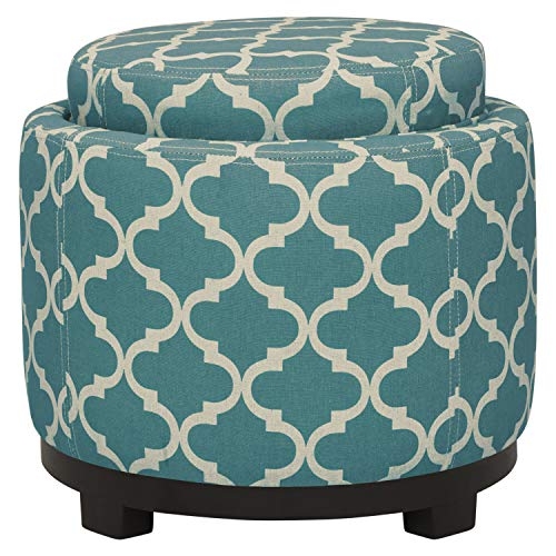 Amazon Brand – Ravenna Home Morrocan Storage Ottoman with Tray - 19 Inch, Blue and Cream