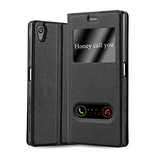 Cadorabo Hülle für Sony Xperia Z5 Premium in KOMETEN SCHWARZ – Handyhülle mit Magnetverschluss, Standfunktion & 2 Sichtfenstern – Hülle Cover Schutzhülle Etui Tasche Book Klapp Style