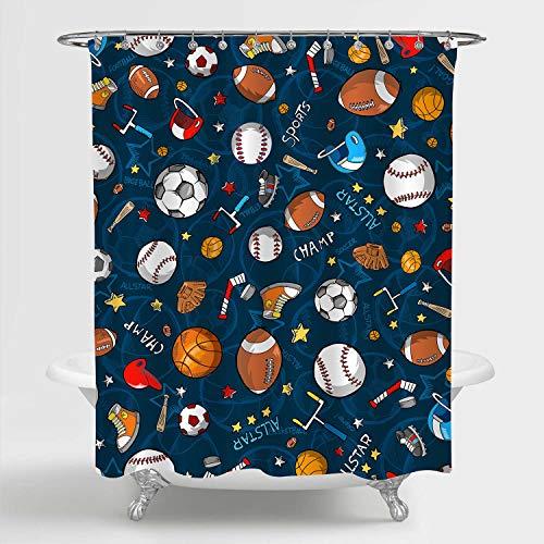 MitoVilla Sport Duschvorhang für Baby Kinder & Jugendliche, Baseball Basketball Fußball Hockey Sterne Muster Dekorative Badezimmer Zubehör Blau 182,9 cm B x 182,9 cm L Standard