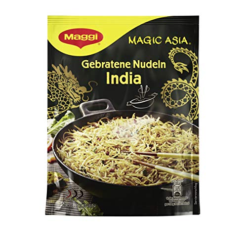 Maggi Magic Asia Gebratene Nudeln India, leckeres Fertiggericht, Instant-Nudeln, indisch gewürzt, 12er Pack (12 x 122g)