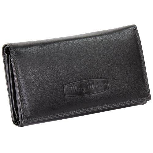 Ledershop24 RFID Damen Leder Geldbörse Damen Portemonnaie Damen Geldbeutel - Lang Schwarz Leder - Geschenkset + exklusiven Schlüsselanhänger