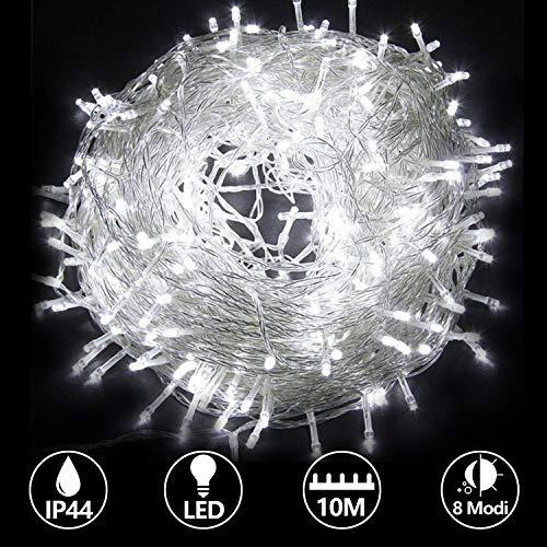 Hengda 10M 100 LED Lichterkette mit 8 Leuchtmodi/Fernbedienung/Timer Kaltweiß für Weihnachten, Hochzeit, Party, Innen und Außen 31V