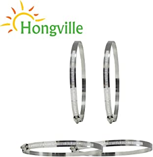 Hongville HV-CLAMP-12 Adjustable Stainless Steel Worm Gear Hose Clamps, 2 Piece