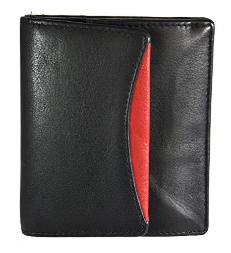 echt Leder Geldbörse Wiener Schachtel mit RFID/NFC Schutz Jockey Club Nappaleder schwarz rot
