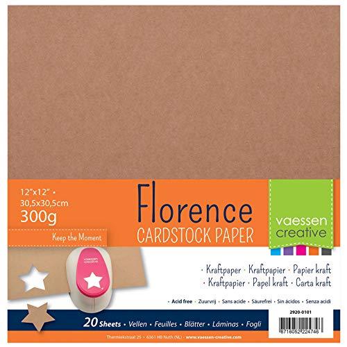 Vaessen Creative Florence Cardstock Kraftpapier Quadratisch 300g, 20 Blatt zum Scrapbooking und Gestalten von Einladungen, Karten und Fotoalben
