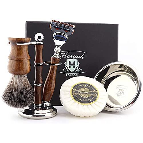 Haryali London Shaving Kit – 5 Pc Wooden Shaving Kit – 5 Edge Shaving...