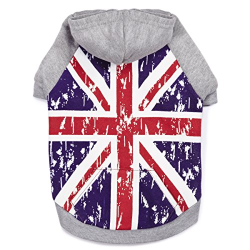 Zack & Zoey Distressed British Flag Hoodie for Dogs, Small
