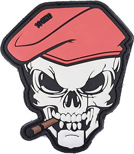 101 INC. Emblem 3D Patch Skull Totenkopf mit Zigarre & Barett 9,7 x 8,5 cm aus PVC Klett mit Flausch-Gegenstück