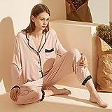 STJDM Bata de Noche,Pijamas Mujer Otoño Nuevo Conjunto de Dos Piezas de Manga Larga Color Puro Cárdigan de Encaje de Costura Sencillo Traje de Mujer Ropa para el hogar M Rosa
