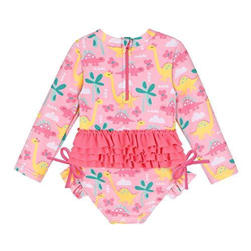 HUAANIUE Baby Meisjes Vis Schaal Badpak Een Stuk Zwemmen Kostuum UPF 50+ UV Badmode Rits 6M-6Y Badkleding Strik