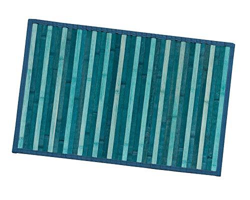 Bambus-Teppich aus Holz, Küche, Badezimmer, Schlafzimmer, Degradé, verschiedene Größen, Frühstücksbrett, Rückseite, rutschfest, Modell: Bambus, 50 x 175 cm, Blau