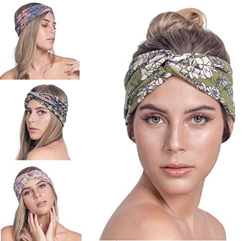 Osattia Boho Stirnband Damen Dünn Sport Yoga Breites Haarreifen Elastisches Haarband Weiche Haarbänder Kopfband Knoten Stirnbänder Blume Muster 4 Stück