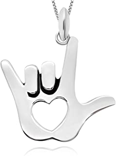 925 Sterling Silver I Love You All My Heart Hand Sign Pendant Necklace for Women, 18