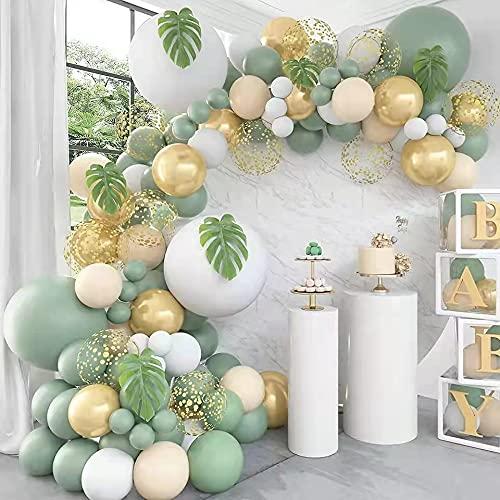 Kit Guirnalda Globos, 103 Piezas Kit de Arcos de Globos Albaricoque Blanco Verde Globos Látex Globos para Baby Shower Cumpleaños Boda Fiesta Tropical Decoracion