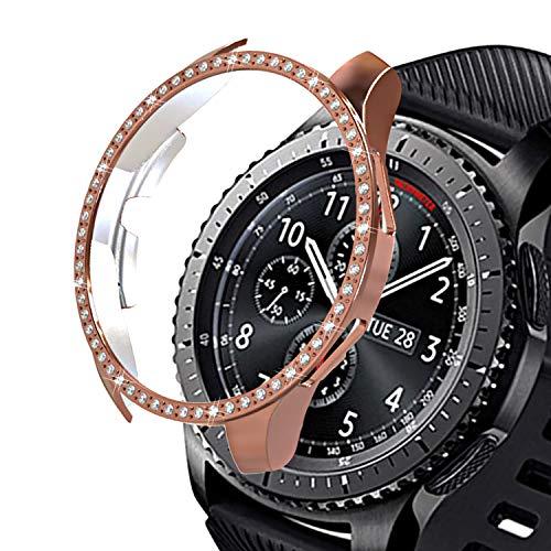 Kompatibel mit Samsung Galaxy Watch 42MM Hülle Glitzer, Qianyou Shiny Strass Rahmen Schutzhülle Bling PC Hardcase Shockproof Kratzfest Cover Bumper Case Zubehoer für Damen, Rosegold