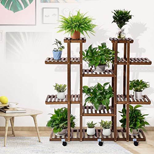Kaigelu888 Soporte para Plantas, Estantería Decorativa Macetas Estanteria Madera para