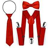 Kinder Kleinkind verstellbare elastische Mode Hosenträger Fliege Krawatte Set (Rot)