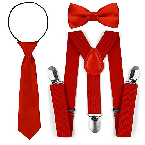 Set di cravatte a farfalla con cravatta a farfalla regolabile per bambini (Rosso)