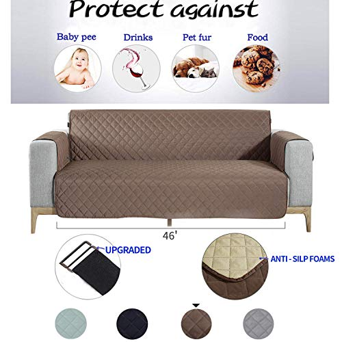 NEKOCAT Loveseat Slipcover,Couch Cover Protector Waterproof Anti-Slip Slipcover for 2 Cushion Loveseat Furniture Protection from Pets, Cat, Kids,Spills,Seat Width up to 46 Inch (Loveseat,Chocolate)