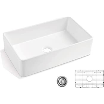 Alwen 33 White Farmhouse Sink Fireclay 33 Apron Front Sink Luxury Single Basin Kitchen Sink 33 Inch Farmhouse Sink White Ceramic Sink With Stainless Steel Grid And Strainer Amazon Com