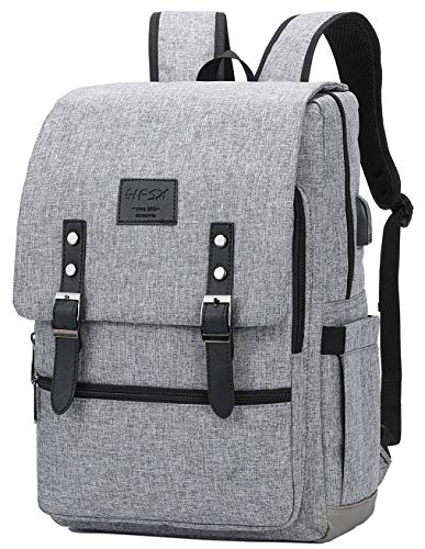 Vintage Backpack Anti Theft Laptop Backpack Men Women Business Travel Computer Backpack School College Bookbag Stylish Water Resistant Vintage Backpack with USB Port Fits 15.6 Inch Laptop Grey