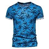 SSBZYES Camiseta para Hombre Camiseta De Verano De Manga Corta para Hombre Camiseta 100% Algodón Camiseta con Estampado De árbol De Coco Camiseta con Cuello Redondo Camiseta Informal Top para Hombre