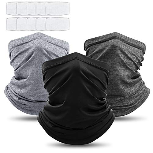 3Pcs Neck Gaiter Bandanas Scarf with Safety Carbon Filters, Warmer Windproof Sport Outdoor Protective Equipment, 13 Pack Both Men Women