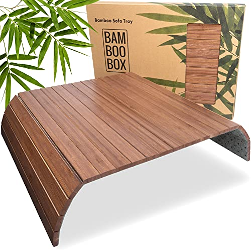 BAM BOO BOX Bandeja de Bambú para Sofá – Posavasos para Reposabrazos para Bebidas y Aperitivos – Bandeja para Reposabrazos de Madera Marrón Oscuro 🔥