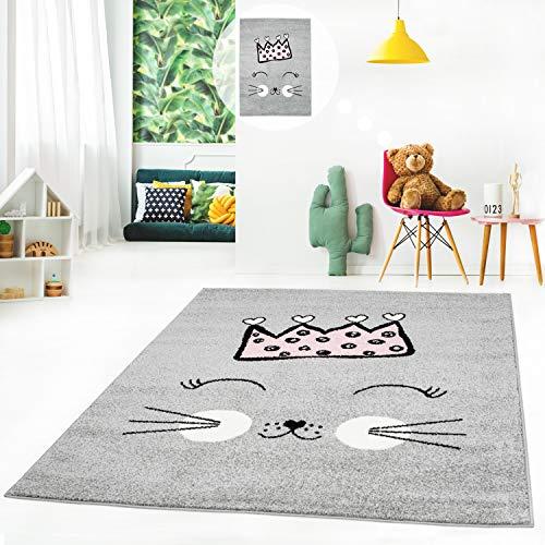 MyShop24h Kinderteppich Flachflor Kids Teppich Kinderzimmer Spielzimmer mit Katze und Krone in Grau-Rosa-Grün, Größe in cm:140 x 200 cm, Farbe:Grau