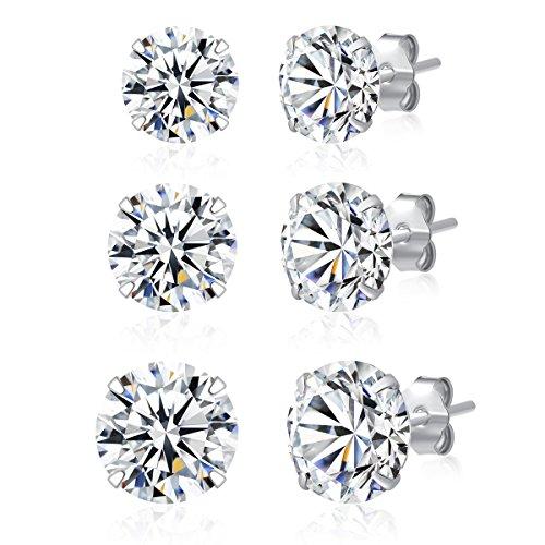 3 Pairs 925 Sterling Silver Cubic Zirconia Stud Earrings 6mm-7mm-8mm Set...