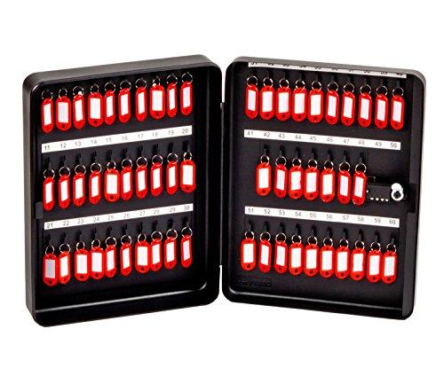 OfficeForce® Schlüsselkasten mit Zahlenschloss/Schlüsselschrank, Modell Tresor für 60 Schlüssel, Wandmontage, schwarz (20091)