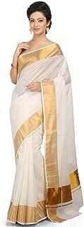 Women's Cotton Kerala Kasavu Saree with Blouse Piece (KSV1002, Off-White)