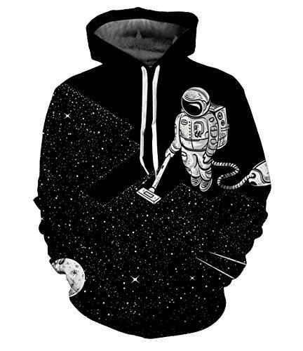 CORIRESHA Fashion Astronaut in Outer Space 3D Print Black Hoodie Sweatshirt