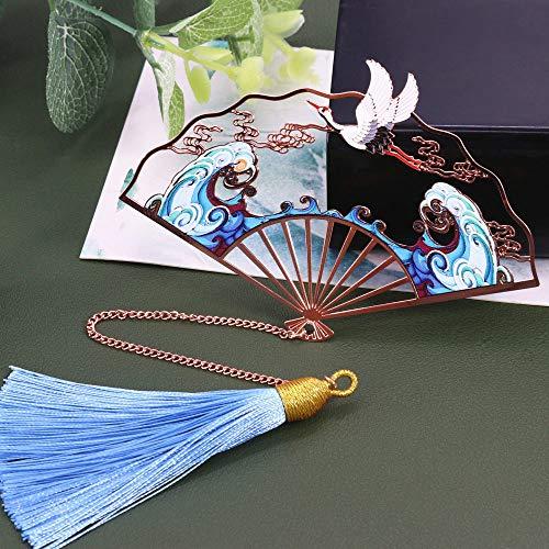 THTHT Vintage bladwijzer, creatieve metalen ventilator, zijden franjes, kraan, klassieke Chinese stijl, studenten, kantoor, kinderen, lezen, paar cadeau, eenvoudige mode