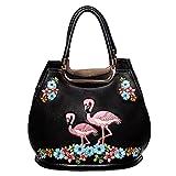 Banned Vintage Damen Handtasche - Retro Flamingo Henkeltasche in Schwarz, Rosa oder Türkis...