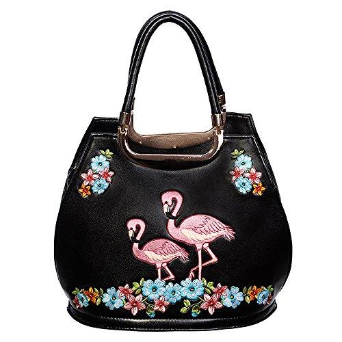 Banned Vintage Damen Handtasche - Retro Flamingo Henkeltasche in Schwarz, Rosa oder Türkis (Schwarz)