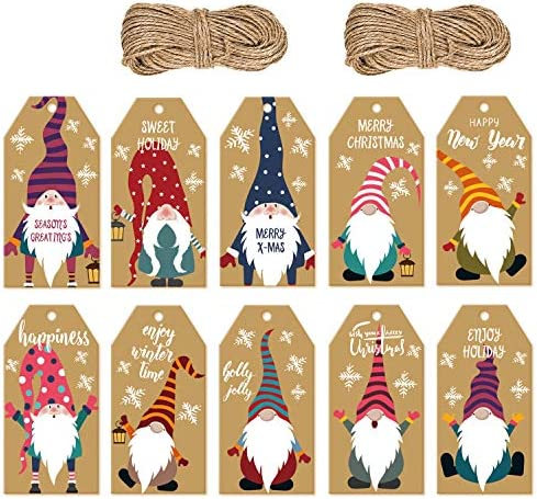 Doumeny 200 Pieces Christmas Gnome Gift Tags Xmas Kraft Paper Gift Tags Hanging Label with 131 product image