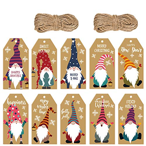 Doumeny 200 Pieces Christmas Gnome Gift Tags Xmas Kraft Paper Gift Tags Hanging Label with 131 Feet Natural Jute Twine for DIY Arts Crafts Christmas Tree Present Wrapping Stamp Cake Candy Decoration