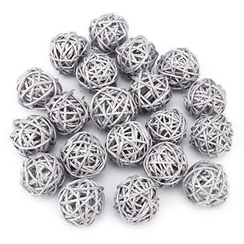 20Pcs Bolas Decorativas de Centro de Mesa, 3cm Bolas de Mimbre Decorativas Natural para Manualidades Fiestas Centro de Mesa Decorativo