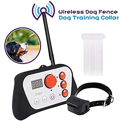 TaoHorse Wireless Dog Fence 2 in 1 System, Outdoor Electric Training Collar with Remote, IP67 Waterproof & Rechargeable, 100 Levels Adjustable Range Control up to 492ft, Beep/Vibrate/Static Shock